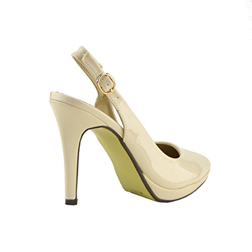 Kick Footwear - Kick Footwear Womens Stiletto Heels Slingback Party , Office Shoes Nude - Beige - 16034
