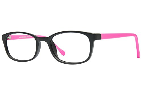 Lunettos Jack Childrens Eyeglass Frames - Matte Black/Hot - Eyeglass Hot Pink Frames