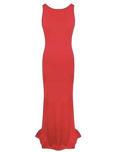 PU&PU Robe Aux femmes Trompette/Sirène Sexy , Couleur Pleine Col Arrondi Maxi Polyester , red-l , red-l