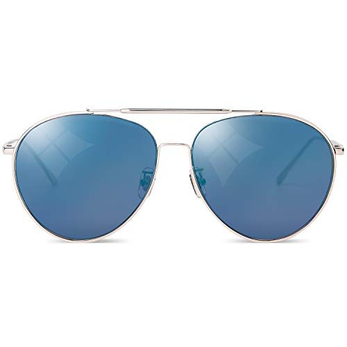 Sunglasses Men & Women Aviator Mirror Blue, 100% UV Protection Aviator, Special Full Rim Retro Vintage Style with Velvet Case for Party Driving