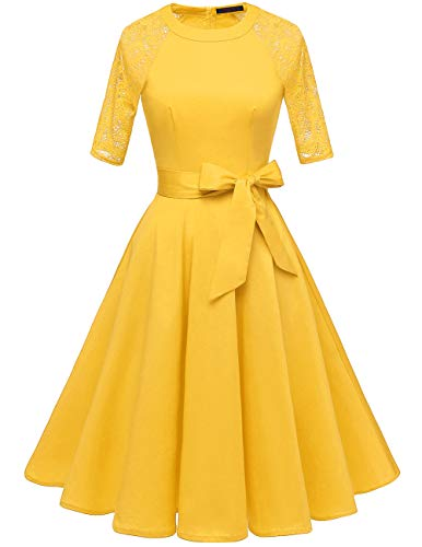 DRESSTELLS Women's Vintage 50's Retro Rockabilly Cocktail 3/4 Sleeves A-line Prom Party Dress Yellow XL