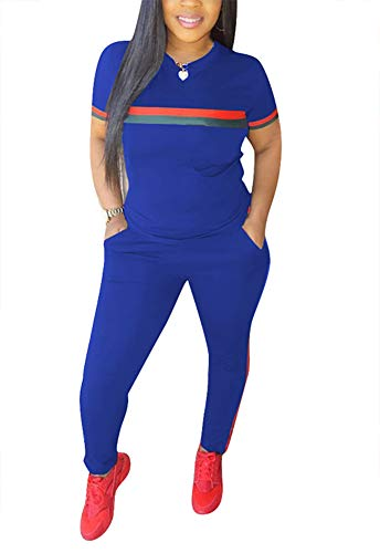 Women 2 Pieces Outfits Short Sleeve Top Sweatshirts and Bodycon Long Pants Set Tracksuits Sweatsuits Blue XXL