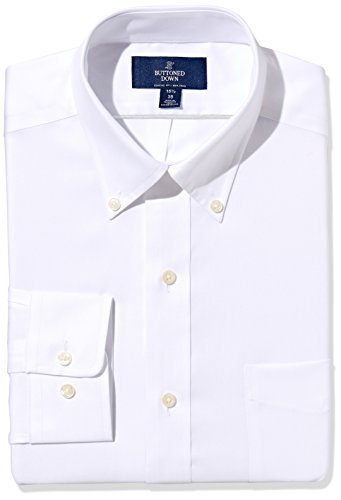 Down Button Dress Shirt Mens (BUTTONED DOWN Men's Classic Fit Button-Collar Non-Iron Dress Shirt (Pocket), White, 16.5