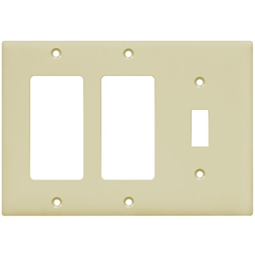 ENERLITES Combination Toggle Light Switch/Decorator Switch Wall Plate, Size 3-Gang 4.50