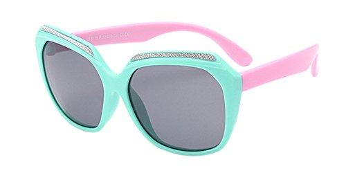 BOZEVON Unisexe Polarisées Lunettes de Soleil pour Enfants Garçons Filles Mode Monture en caoutchouc flexible Sport Lunettes Bleu/Rose