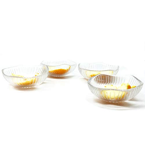 3 Ounce3.25x1.5 inch Heat Resistant Glass Bowl for Ice Cream Dessert,Soy Sauce Dishes,Appetizer Spoons Stackable,Mini Side Dishes Ramekins Transparent 4 Packs (Lace Bowls)