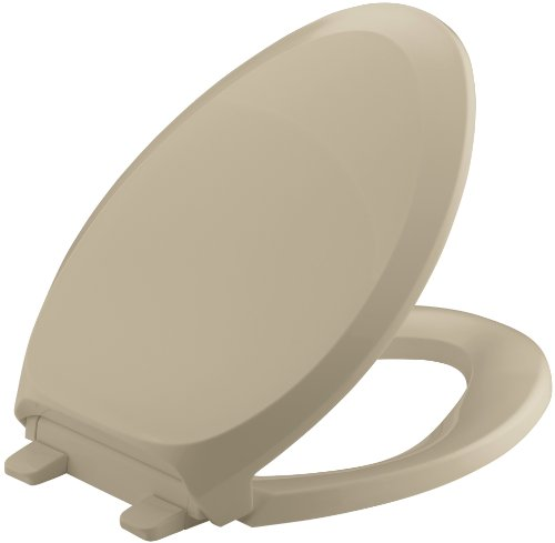 Mexican Sand Elongated Toilet Seat - KOHLER K-4713-33 French Curve Quiet-Close with Grip-Tight Bumpers Elongated Toilet Seat, Mexican Sand