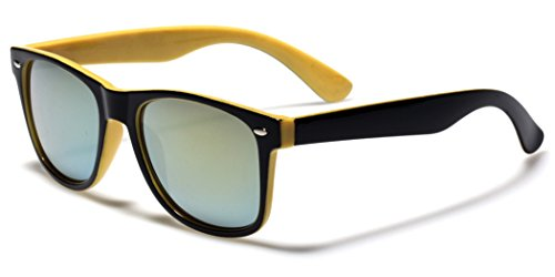 Classic Retro Fashion 2 Tone Sunglasses w/Color Mirror Lens Yellow