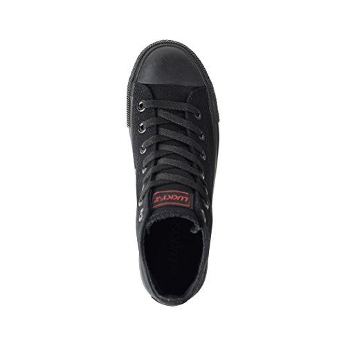 Elara London Sportschuhe Herren Bequeme Schuhe und Sneaker Top Turnschuh Unisex Low für Textil Damen Allblack gBqtrg6x