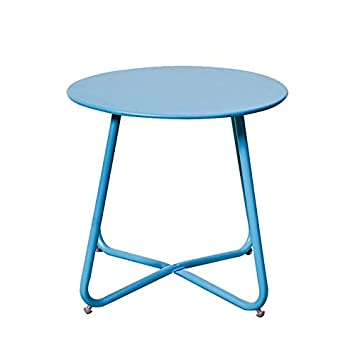 grand live Steel Small Round Bistro Side Table,Outdoor Indoor Ottoman,Tray Side Table, Snack Table, CoffeeTable, Anti-Rusty -Blue