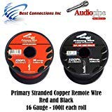 16 GAUGE WIRE RED & BLACK POWER GROUND 100 FT EACH PRIMARY STRANDED COPPER CLAD 31mIb-MvmaL