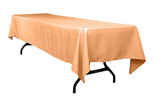 AK-Trading 60 x 126-Inch Rectangular Polyester Tablecloth - Made in USA (Peach) ()