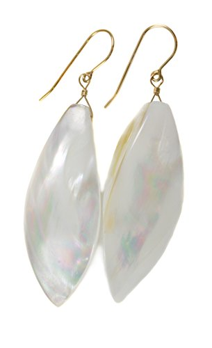 14k Yellow Gold Mother of Pearl Earrings MOP White Organic Teardrop Shaped Shell 2 Inch Drops 14k Yellow Gold Mop