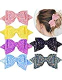 SIQUK 6 Pieces Hair Bows Glitter Boutique Bows 5 Inch Hair Bow Alligator Clips Multi Color Big Hair Bow Clips for Girls(Bonus: 1pc Storage Bag)
