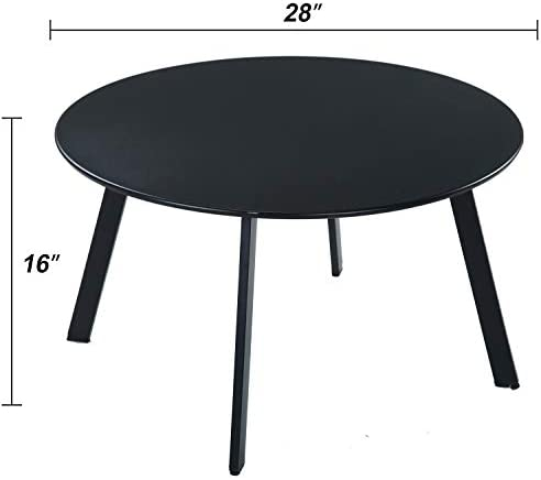 Grand Patio Round Steel Patio Coffee Table, Weather Resistant Outdoor Large Side Table, Black