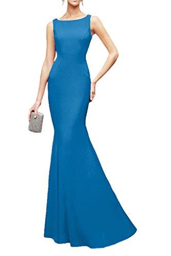 Marie Chiffon Schmaler Elegant Abendkleider La Brautjungfernkleider Schnitt Braut Bodenlang Partykleider Spitze Blau tdO8nq8
