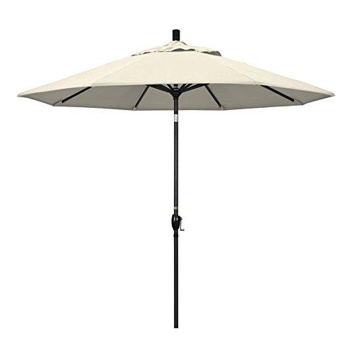 California Umbrella 9' Round Aluminum Market Umbrella, Crank Lift, Push Button Tilt, Black Pole, Antique Beige Olefin
