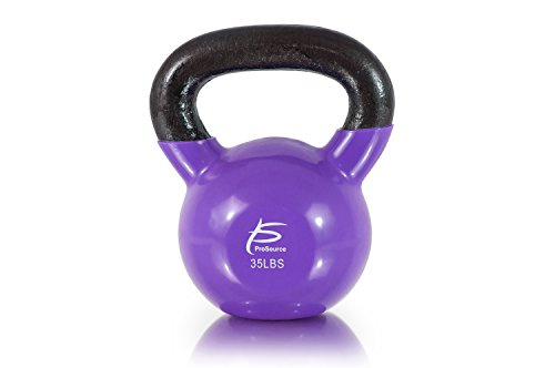 ProSource Vinyl Coated Cast Iron Kettlebells, Purple - 35 lbs, Medium/35 lb