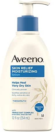 Aveeno Skin Relief 24-Hour Moisturizing Lotion for Sensitive Skin with Natural Shea Butter & Triple Oat Complex, Unscented Therapeutic Lotion for Extra Dry, Itchy Skin, 12 fl. oz