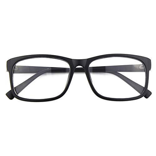 (Happy Store CN12 Casual Fashion Basic Square Frame Clear Lens Eye Glasses,Matte Black )