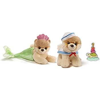"""Gund Itty Bitty Boo #038 Mermaid and #037 Sailor Special Set of 2 Plush 5"""" with Sea World Sticker"""