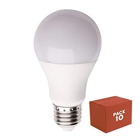 10x Bombilla LED E27, iluminacion 10W (800 lm), 4000K (luz neutra