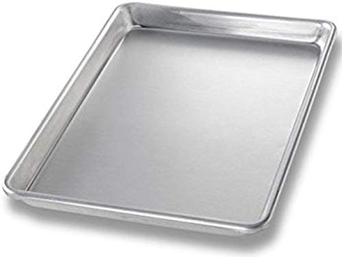 Commercial Grade Aluminum Quarter Size Baking Sheet Pans with Dough Scrapers, 9.5 Inch by 13 Inch, 2-Pack