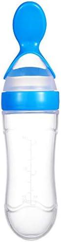 Training Spoon Bottle Squeeze Feeder Botellas de Viaje Ligeras port/átiles Baby Exprimir cucharas de alimentaci/ón con Tapa Antipolvo Baby Squirt Spoon Dispenser