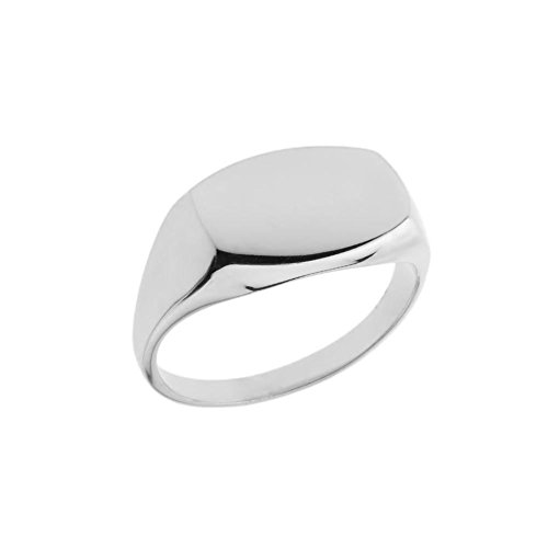(Men's 10k White Gold Comfort Fit Engravable Rectangular Signet Ring (Size 8))