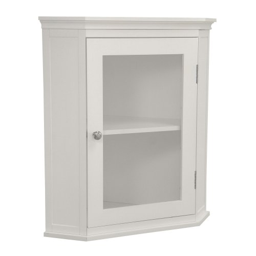Elegant Home Fashions Madison Collection Shelved Corner Wall Cabinet, White (Corner Cabinet Glass)