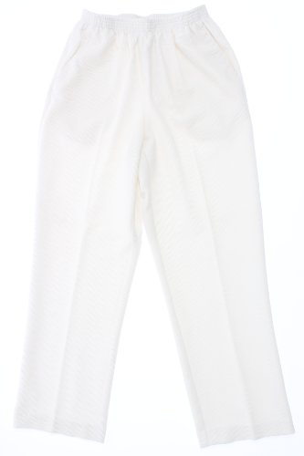 Ivory Corduroy (Alfred Dunner Stretch Waistband Solid Pullon Corduroy Pant Ivory 12 Short)