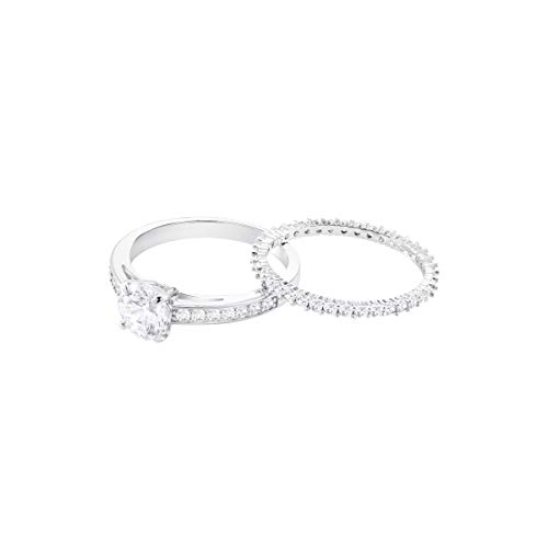 SWAROVSKI Women's Attract 2 Piece Ring Set, Rhodium Finish, White Crystal Ring Collection