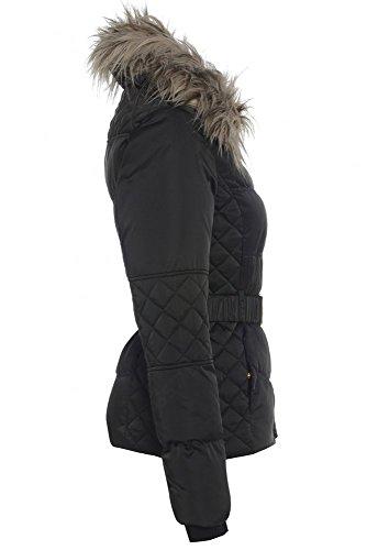 SS7 Damen Gepolstert Pelzkragen Jacke, Schwarz, Größe 8 bis 16