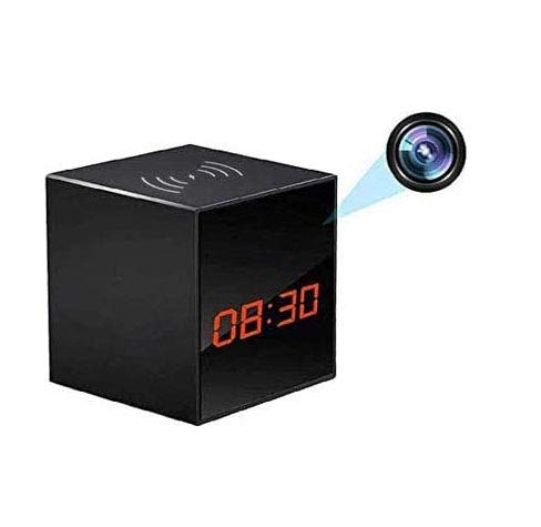 LIZVIE Hidden Cam Spy Camera Alarm Clock HD 1080P Nanny Cams Wireless Charger with Cell Phone App Night Vision & Motion Detection - Storage 128GB