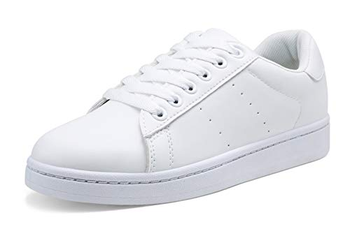 VEPOSE Women's Sneakers Fashion Casual Classic Lace up Lightweight Dress All White Sneakers for Women(8,Dress Sneakers-602-White)
