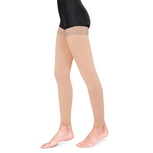 Medical Thigh High Compression Stockings, Firm Support 20-30 mmHg Gradient Footless Compression Socks Silicone Band Men & Women (Beige, X-Large)