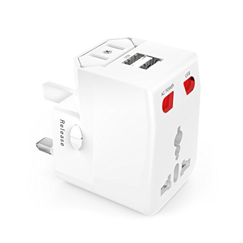 MoKo Universal Travel Charger, All-in-One World-wide Wall Charger AC Power UK US AU EU Plug Surge Protector, with 2-Port USB and Fuse, White