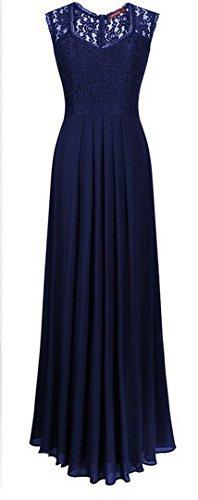 Battercake Abendkleid Damen Elegant Lang Abendkleider mit Spitze Spleiß Ballkleider Cocktailkleid Bodenlang Casual Frauen Figurbetont V Ausschnitt Ärmellos Plissee Festliche Kleider Maxikleider Blau fzu6Oj