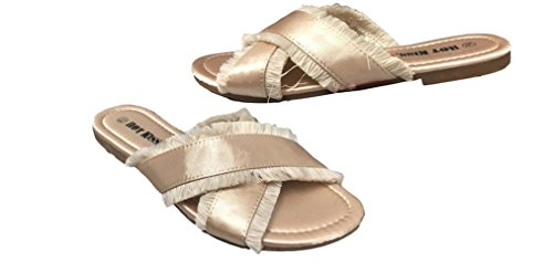 Kiss Toe Slides Satin Open Frayed Hot Detail Sand with by R8dqwSq5