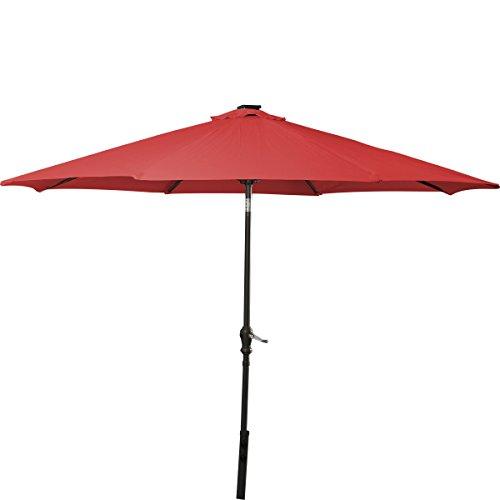 Giantex 10'Patio Solar Umbrella LED Aluminum Patio Market Umbrella Tilt W/ Crank Outdoor Red