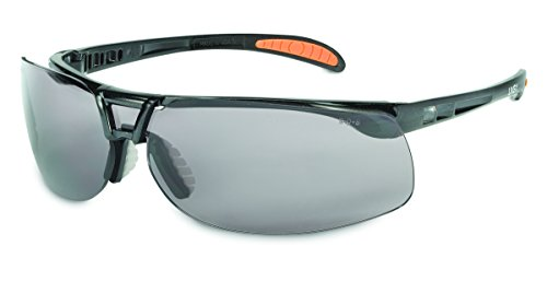 Uvex by Honeywell Protégé Safety Glasses, Metallic Black Frame with Gray Lens & Uvextreme Anti-Fog Coating (S4201X)
