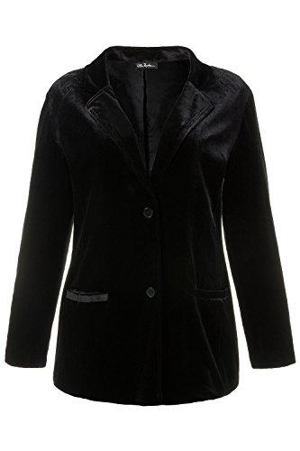 Ulla Popken Women's Plus Size Soft Velvet Stretch Blazer Black 20/22 707386 10 Lined Velvet Blazer