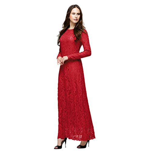 Women Solid Formal Lace Maxi Dress Long Sleeve Off Shoulder Elegant Party Gown Mermaid Dress MITIY, M-XXL Red ()