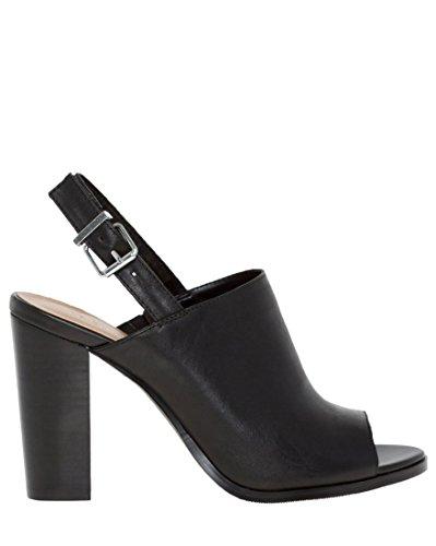 LE CHÂTEAU Leather Peep Toe Shoe Bootie,38,Black
