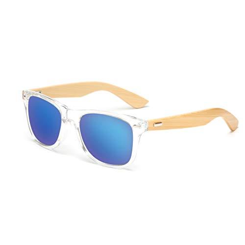 RabbitStorm Gafas de Sol de Madera de Bambú con Azul Lente Polarizada de Protección UV en Vintage Wayfarer Style- Gafas de...