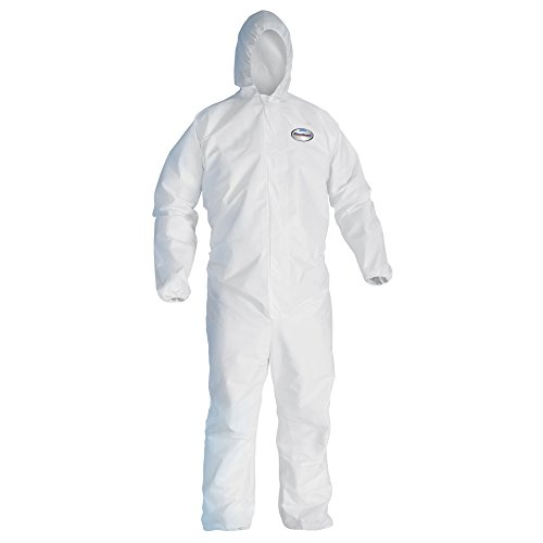 Kleenguard A40 Liquid & Particle Protection Coveralls with Hood (44323), Zip Front, Elastic Wrists & Ankles (EWA), White, Large, 25 Garments / Case