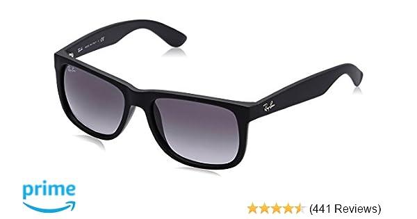 6e413bc6dab Amazon.com  Ray-Ban Justin RB4165 Sunglasses-601 8G Rubber Black Gray  Gradient-51mm  Ray-Ban  Clothing