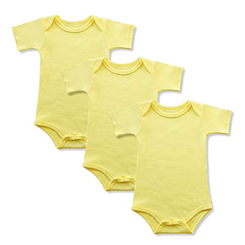 GLEAMING GRAIN 3-Pack Soft Cotton Newborn Boys Bodysuit Short Sleeved Colored Baby Onesie (3M, Yellow) ()