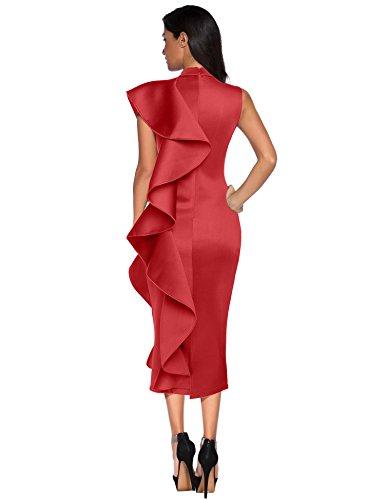 Patchwork Sans Manches Meilun Les Femmes Volants Meilun Moulantes Vestidos Robe De Soirée Vin Rouge