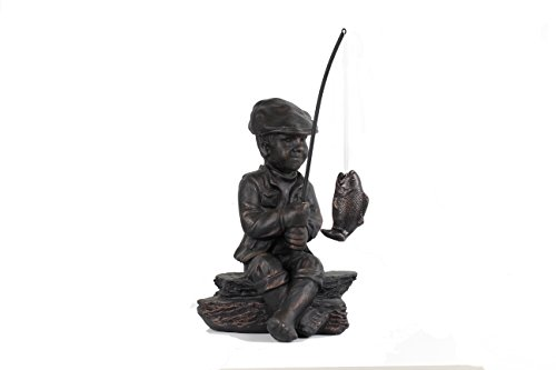 BW Decor Little Boy 24.72'' Fisherman Garden Sculptures, Garden Statue, Polystone, Polyresin by BW Decor